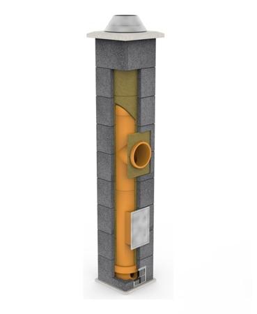 System kominowy KRUK UNIVERSAL 5M - potrójna wentylacja - trójnik 45°