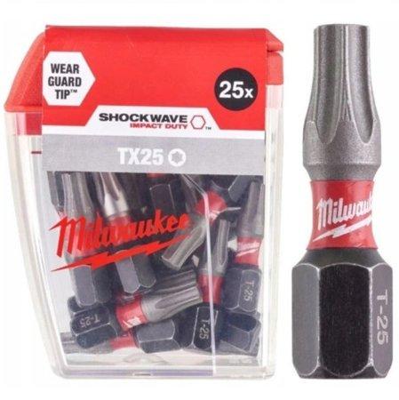 Bit udarowy MILWAUKEE SHOCKWAVE IMPACT DUTY TORX 25mm TX25 25szt